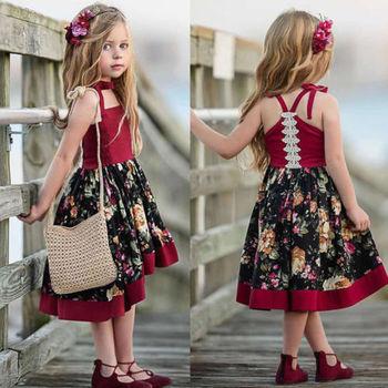 Kids Baby Girls Strap Party Princess Flowers Dress