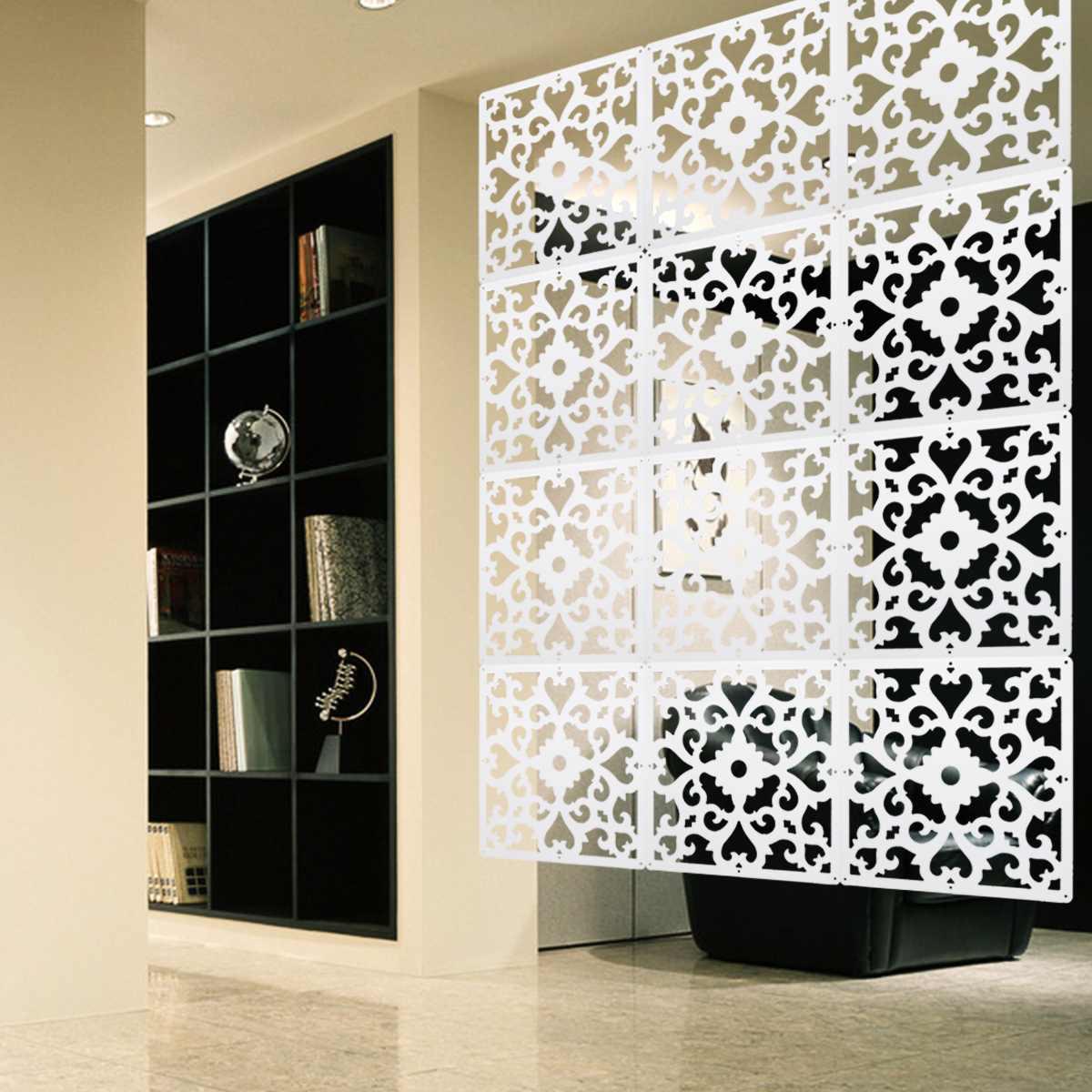 Cloison murale diviseur d'écran de pièce 12 Pcs/Lot panneaux de rideau en PVC écrans de séparation espace sculpté Division décoration de la maison artisanat