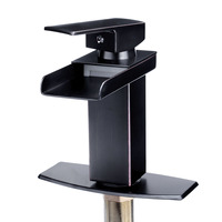Deck Mounted Oil Rubbed Square Faucets Single handle Taps Bathroom Fixture Basin Mixer Taps Bath Faucets Waterfall Spout Sink