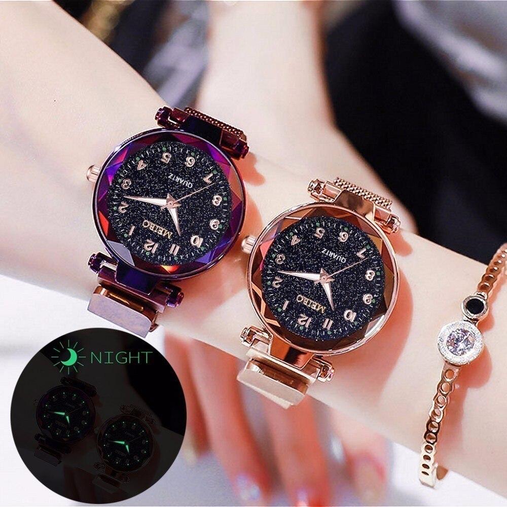 Women Magnet Buckle Starry Sky Luminous Watch Luxury MEIBO Ladies Stainless Steel Quartz Watch Relogio Feminino