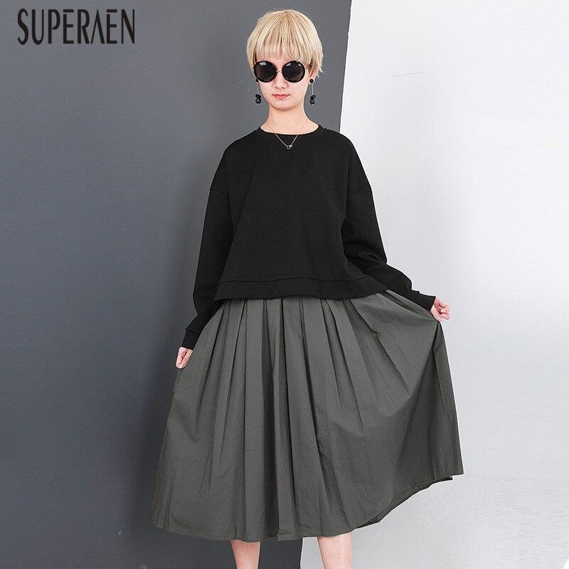 Kadın Giyim'ten Kadın Setleri'de SuperAen Avrupa Moda kadın Setleri 2018 Bahar Yeni Hoody Vahşi Pamuk Tişörtü Casual Kolsuz İki Adet Kadın'da  Grup 1