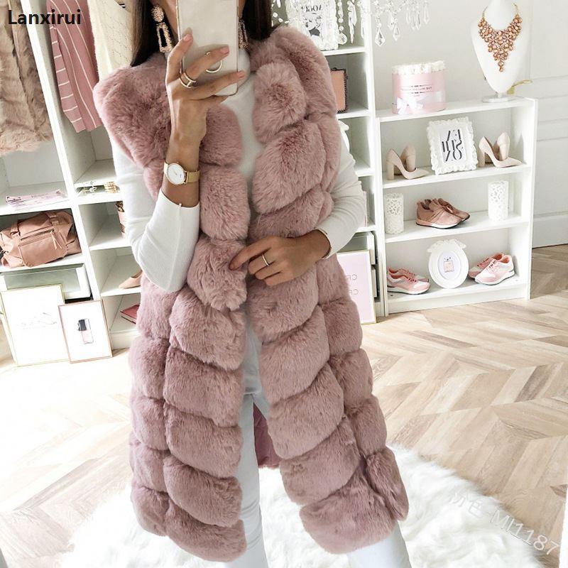 Warm Faux Fur Fox Vest Women Winter Casual Artifical Fur Warm Coat Super X Long Waistcoat Female Faux Furs Wholesale