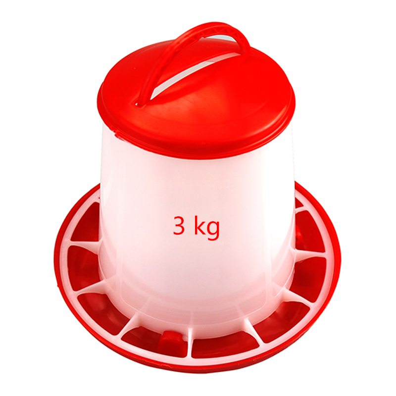 New Poultry Chicken Feeders 3kg / 6kg Feeding Bucket Chicken Duck Ground Fountain Quail Feed Bucket Poultry feeding tools