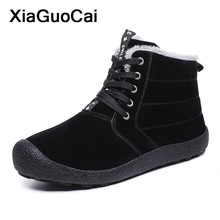 Winter Men Boots 2019 Warm Pu Leather Ankle Snow Boots Lace Up Round Toe High Top Male Shoes Antiskid Mans Footwear Plus Size стоимость