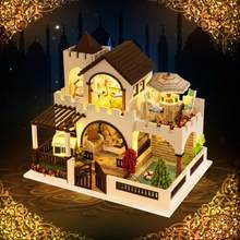 Dreamlike Castle Assembly Building Model Toy Doll House Wooden Miniature DIY Dollhouse Furniture Kit Handicraft Wedding Decors(China)