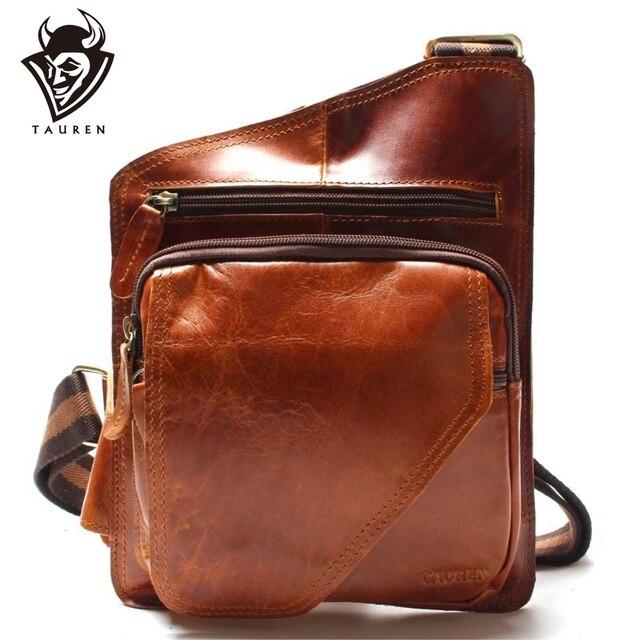 Yeni yüksek kalite Vintage rahat çılgın at deri hakiki inek derisi erkek göğüs çantası küçük postacı çantası adam için