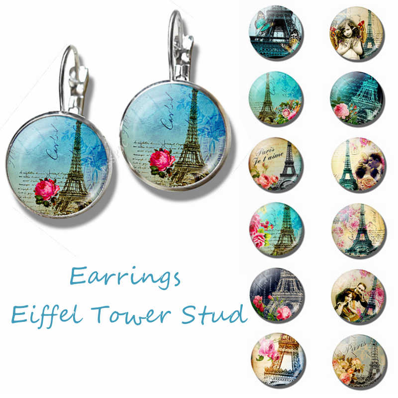 City of Romance France Paris Eiffel Tower Literary Simple Style Earings Glass Cabochons Jewelry DIY Earring Women Lover Gifts