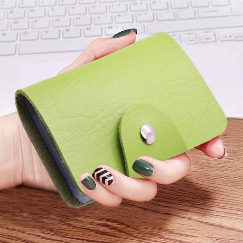Simple 24 Slots Card Holder Wallet Small Clutch Women Men Daily PU Leather Solid Color Simple Unisex Business Credit Cards Bags