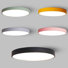 Ultra-Thin Modern Simple Macaron Colorful LED Ceiling Light 5CM Thin Lamp Black White Iron Round Flat Bedroom