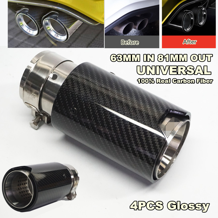 Free shipping 4PCS Brand New Car Carbon Fiber Stainless Exhaust End Tail Tips 2 5 39 39 in 3 2 39 39 out for BMW M3 M4 in Exhaust Headers from Automobiles amp Motorcycles