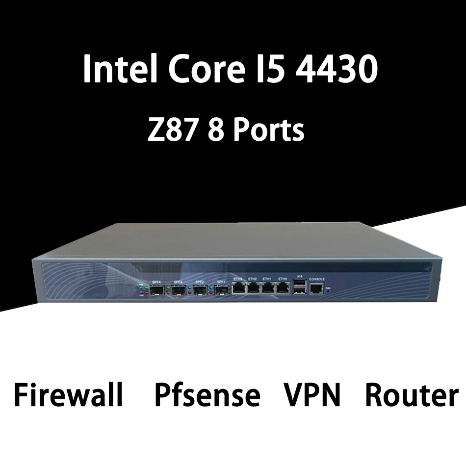 Pare-feu Mikrotik Pfsense VPN routeur d'appareil de sécurité réseau PC Intel Core I5 4430, [HUNSN RS20], (4LAN/2USB/1COM/1VGA)