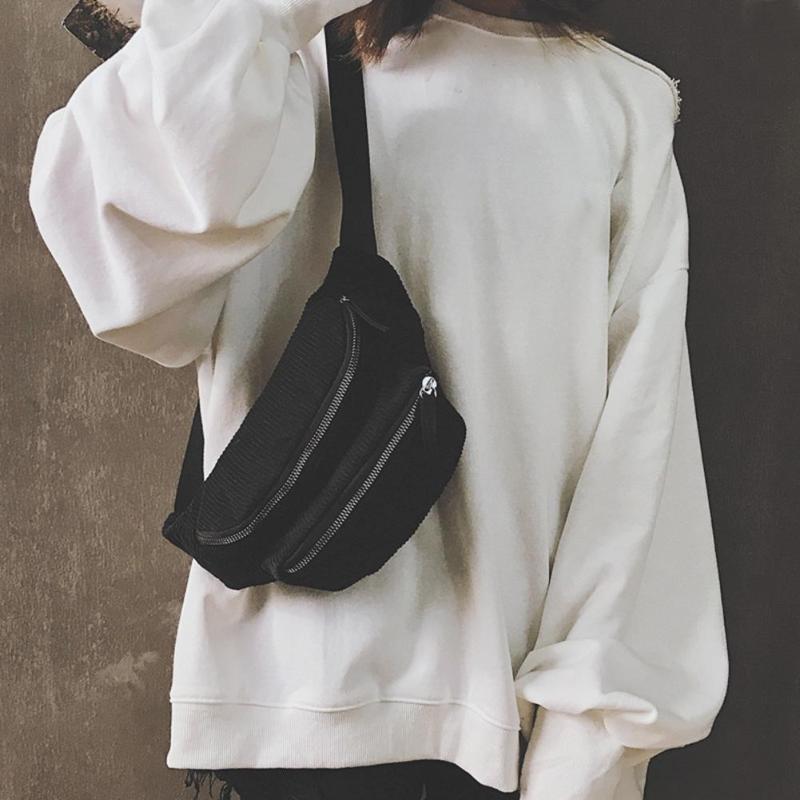 Pouch Belt Chest-Bags Waist-Pack Retro Girls Vintage Double-Zipper Pure Corduroy Women