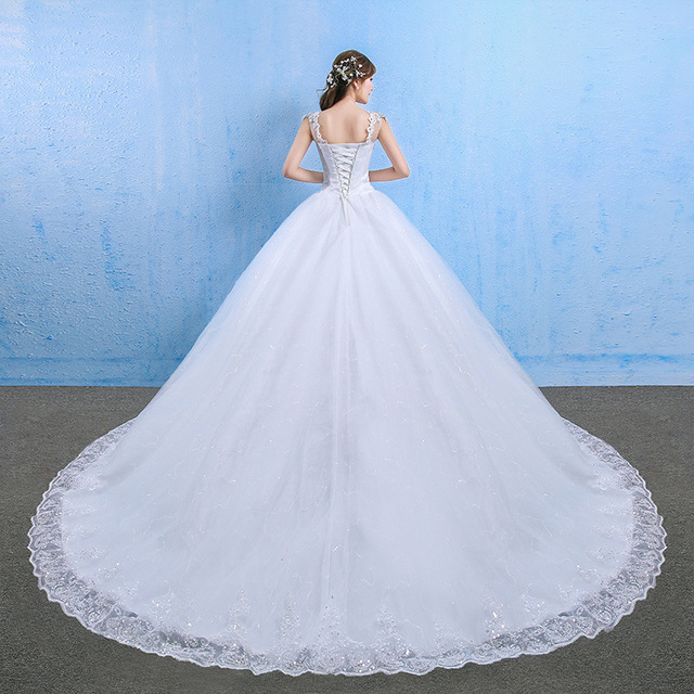 Luxury Plus Size Wedding Dress Elegant Lace Appliques V-neck Beading Wedding Gowns 2020 Crystal Lace Up White Vestido De Noiva 4