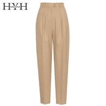 HYH HAOYIHUI 2019 Street Style Solid Color Skilled Handsome Neutral Overalls Harem Trousers High Waist  Female Pants New Arrival
