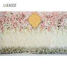 Laeacco Flower Wreath Tassel Mirror Curtain Wedding Photography Backgrounds Customized Photographic Backdrops For Photo Studio