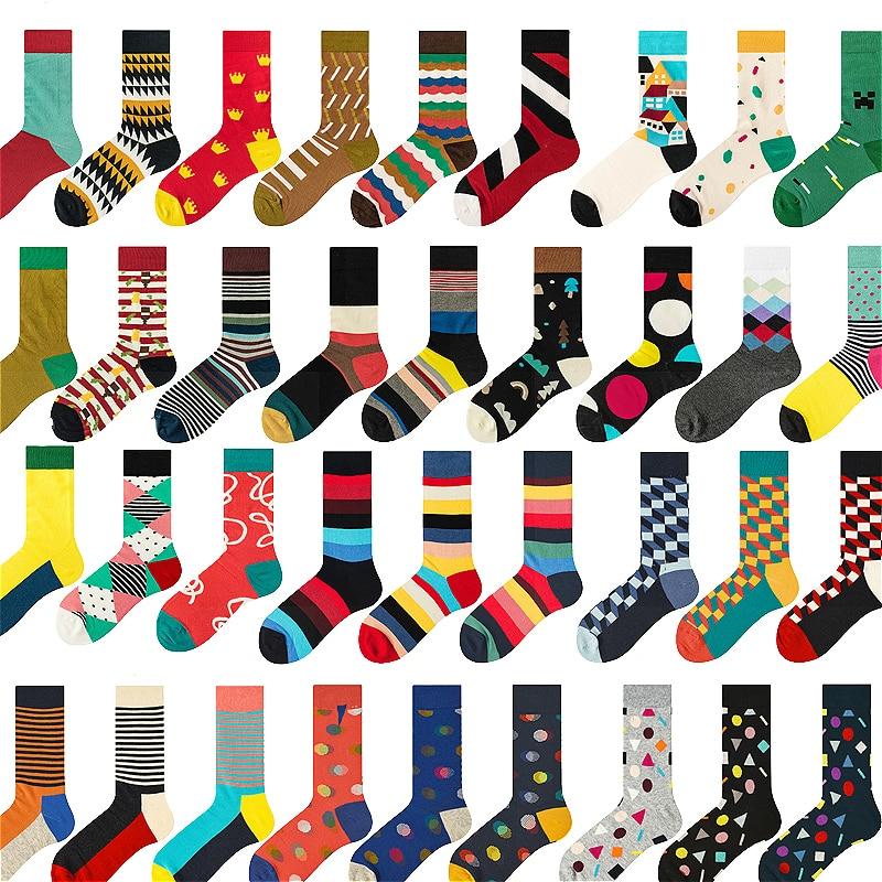 PEONFLY Men Socks Cotton Cartoon Colorful Happy Socks Harajuku British Style Geometric Novelty Funny Skarpetki Men