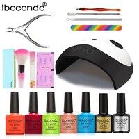IBCCCNDC Nail Art Set 5 Color Gel Nail Polish Set 36w UV LED Lamp Dryer Kit Nail Tools Gel Varnish Lacquer Manicure Tools Kit