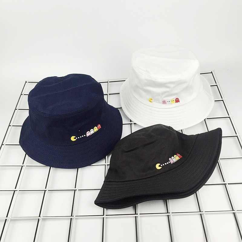 12a30dfde9d ... 2018 New Autumn Hat Women Mens Panama Bucket Hat Eat Peas Design Flat  Sun Visor Fishing ...