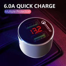 36W Dual USB Car Charger For Mobile Phone QC 3.0 iPhone Samsung 5V 3A Fast Charging Adapter in