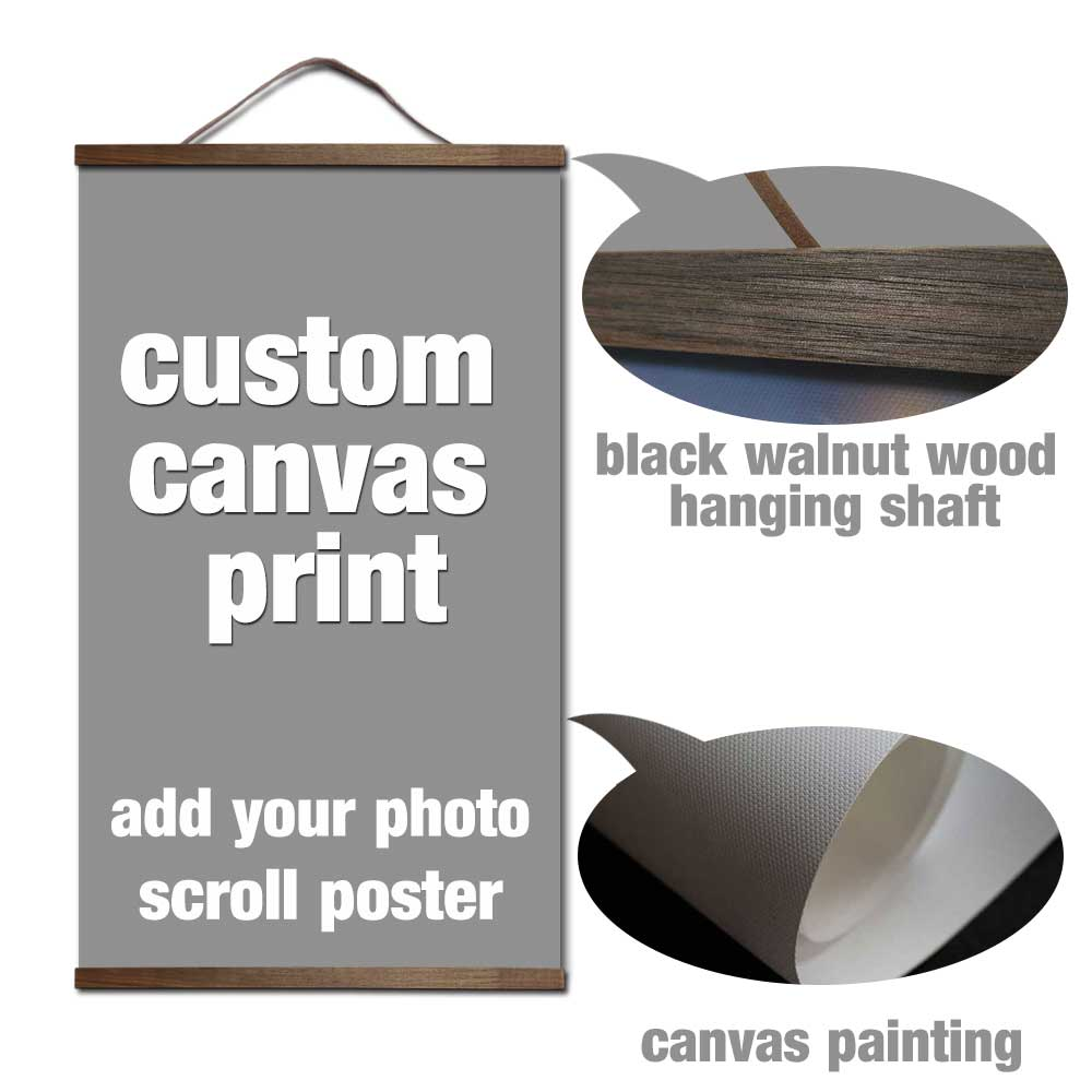 custom print canvas your picture favorite photo family baby canvas painting poster and wall art with solid wood hanging scrolls