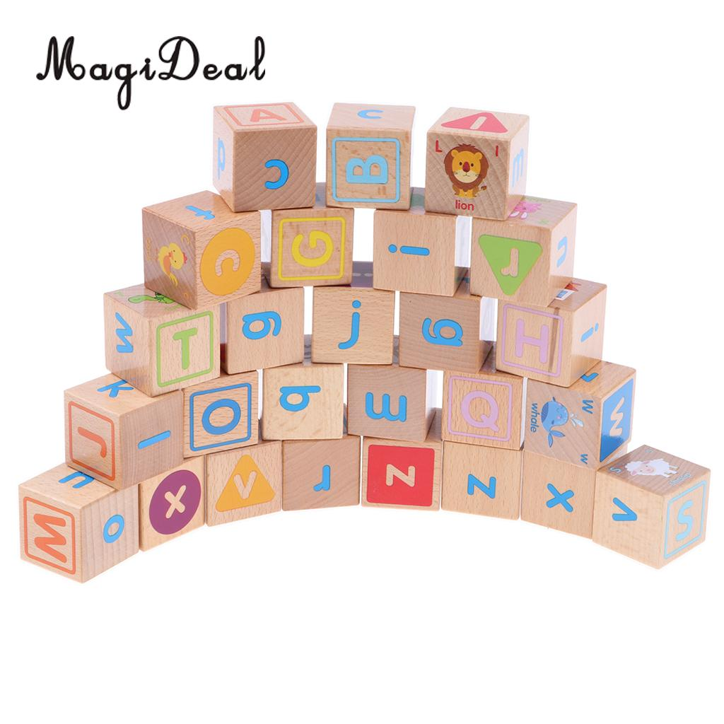 26 PCS Wooden Colorful Printed A~Z Letters Pictures Printed Cube Blocks Stack Playset Kids/Baby Education Cognitive Toy weshow v3 200lm 1280 x 800 rgb 3 color dlp hd mini 3d home projector w hdmi usb audio silver