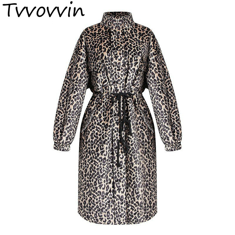 TVVOVVIN Print Leopard   Trench   Coat Female Stand Collar Long Sleeve Drawstring Women's Windbreakers Plus Thick 2019 Winter L521