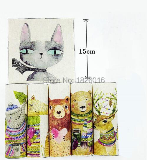 ZENGIA 15x15cm Cat Bear Animal Print Cotton Linen fabric for Patchwork Decorative Canvas fabric for Bags/Painting/Decoration patchwork