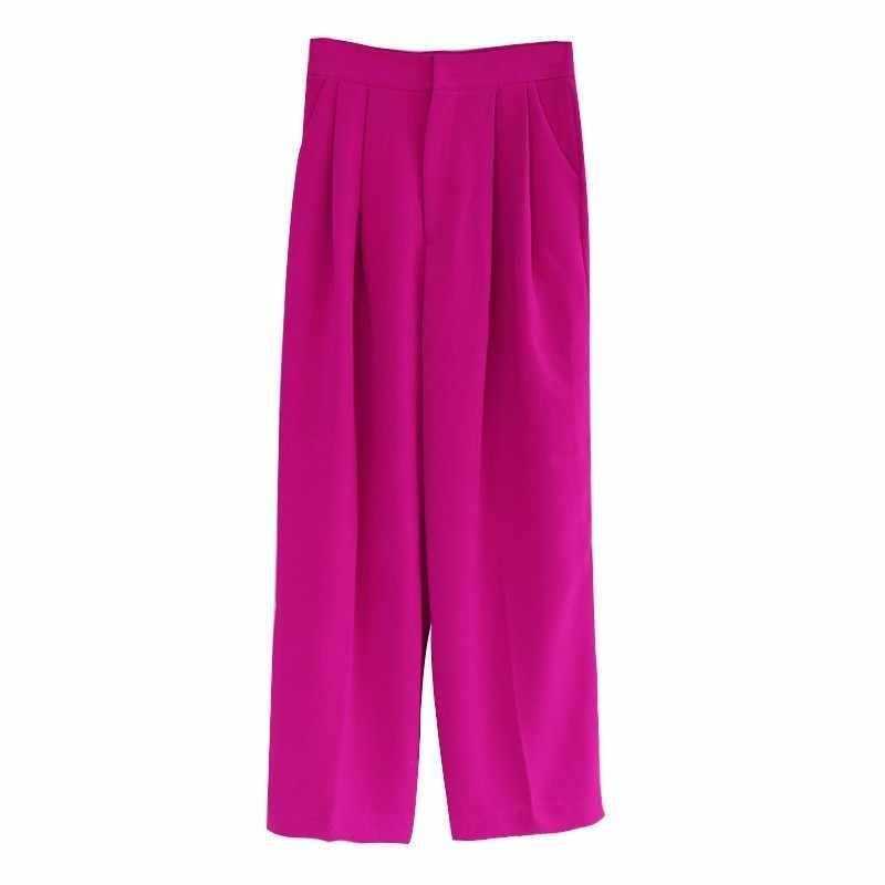 TWOTWINSTYLE Uzun Pantolon Kadın Yüksek Bel Katı Düz Pantolon Kadınlar Için Büyük Boy Rahat Moda 2019 Bahar Giysileri Yeni
