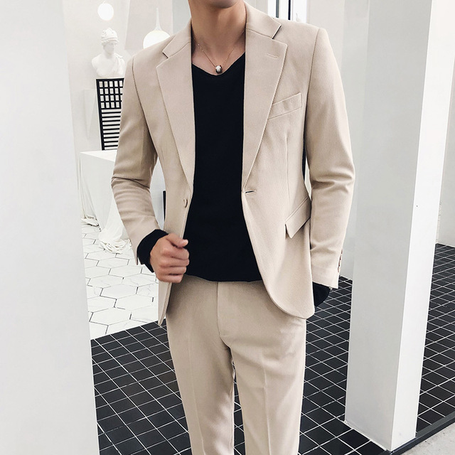 Corduroy high-grade fabric male Korean version of the youth fashion Slim British business casual groom wedding suit two-piece