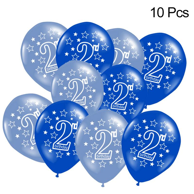 10 PCS Baby Happy Birthday 2 Years Print Birthday Balloon Air Latex Balloons Party Decoration Kids Star Balloons Air Shoot Props in Ballons Accessories from Home Garden