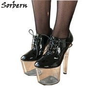Sorbern 20 см прозрачные каблуки насосы демисезонный новый тонкий каблук лакированная кожа обувь для девочек для женщин Высокие каблуки Дамска