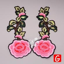 GUGUTREE embroidery big flower patches rose badges applique for clothing DX-120