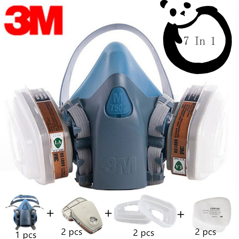 7in1 3M 7502 Gas Mask Chemical Respirator Protective Mask Industrial Paint Spray Anti Organic Vapor Dust Powder Mask 6001