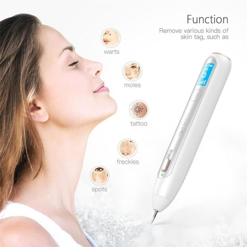 Wireless Rechargeable Mole Freckle Dark Spots Tattoo Wart Remove Pen Skin Tag Spot Eraser With LED Screen And Spotlight Gift