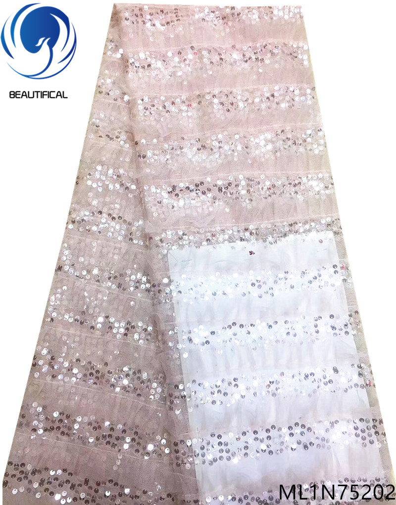 BEAUTIFICAL tulle sequins lace 5 yards fabrics french high quality tulle french net lace 2019 nigerian lace for women ML1N752BEAUTIFICAL tulle sequins lace 5 yards fabrics french high quality tulle french net lace 2019 nigerian lace for women ML1N752