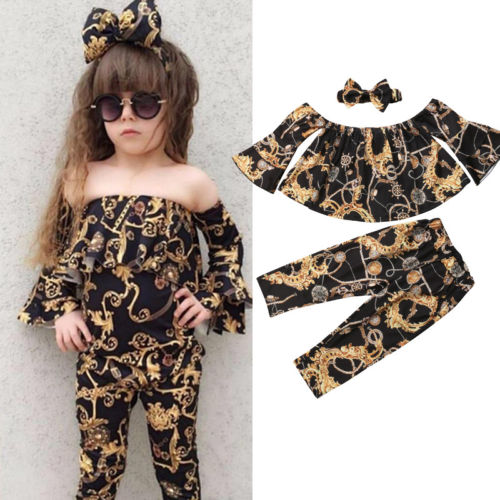 Cool Kids Baby Girl Tops Pants Leggings 3Pcs Outfits Tracksuit Clothes SetCool Kids Baby Girl Tops Pants Leggings 3Pcs Outfits Tracksuit Clothes Set
