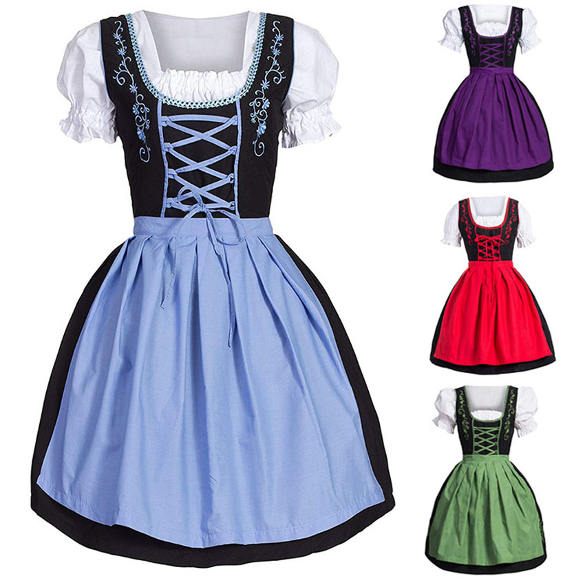 Medieval Costume Renaissance Vintage Women Classical Print Lace Uniform Palace Queen Princess Maid Cosplay Female Retro Dress