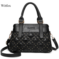 WITFOX Genuine soft leather handbags for women sheep skin rivet punk street wear Diamond lattice ladies totes