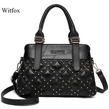 WITFOX Genuine soft leather handbags for women sheep skin rivet punk street wear Diamond lattice ladies totes(China)