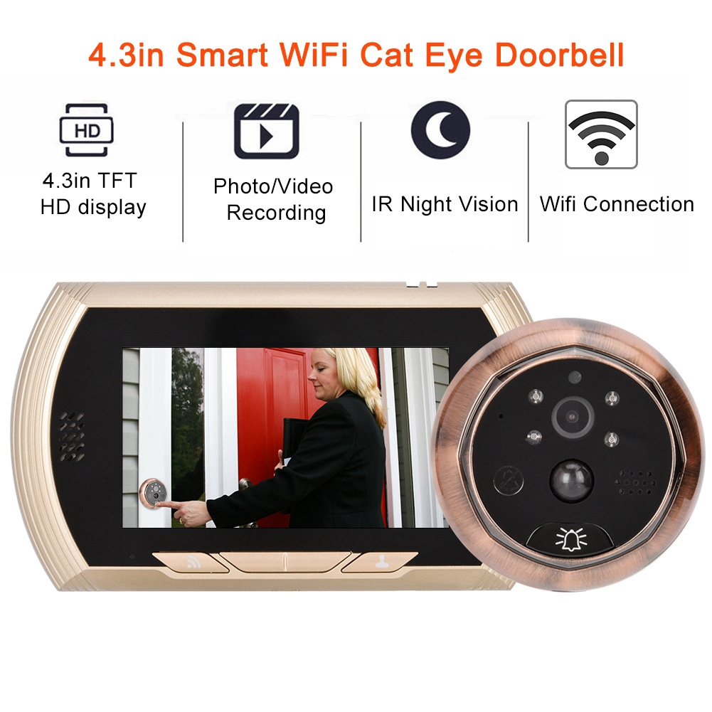 4.3in Smart WiFi Doorbell Cat Eye Camera IR Night Vision Motion Detection Alarm Unique Detachable Battery Design deurbel-in Doorbell from Security & Protection