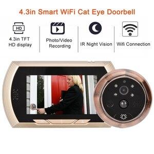 Image 1 - 4.3in Smart WiFi Doorbell Cat Eye Camera IR Night Vision Motion Detection Alarm Unique Detachable Battery Design deurbel