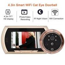 4.3in inteligentne wifi dzwonek kot kamera oczko IR Night Vision alarm wykrywający ruch unikalny odpinany projekt baterii deurbel
