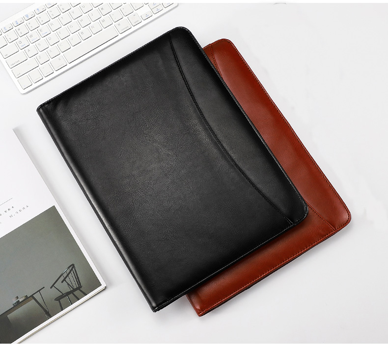 A4 File Folder Padfolio Multifunction Organizer Writing Pad Notepad PU Leather Document Bag With Calculator Office Supplies 1320