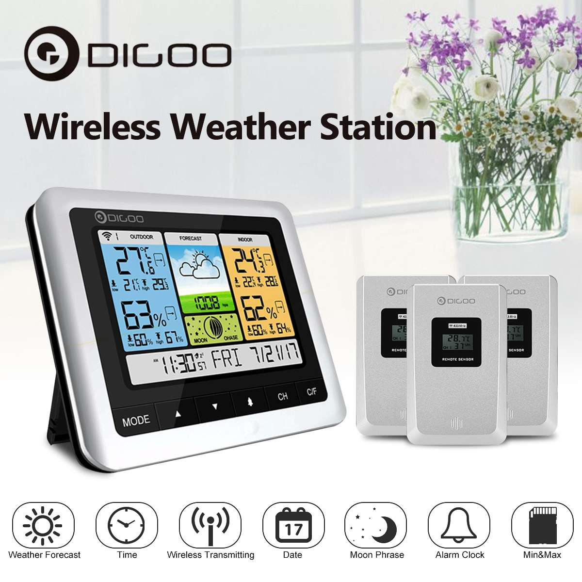 Digoo DG TH8888 Weather Station White Color Wireless Home Digital Thermometer Humidity Meter USB Outdoor Forecast Sensor Clock