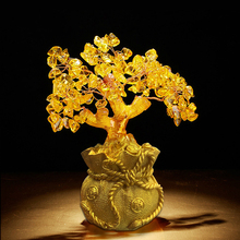 Creative Gift Lucky Tree European-style Yellow Crystal Fortune Decoration Cash Cow Home Decorations
