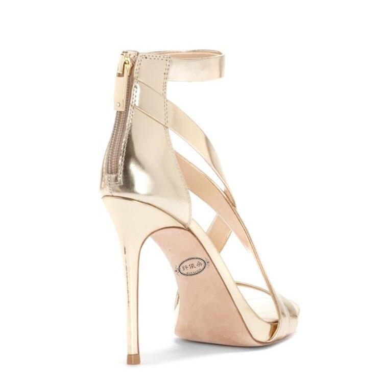 d24572c28a8869 De 2019 34 Argent Or Zipper Or Femmes Sandales Talons 43 Grande Mode Mince  Chaussures D'été Ouvert Nouvelles Taille Super argent À a366 Bout Sexy Hauts  ...