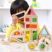 цена на None Kids Creative Acrylic Rainbow Building Blocks DIY Wooden Stacking Tower Toys