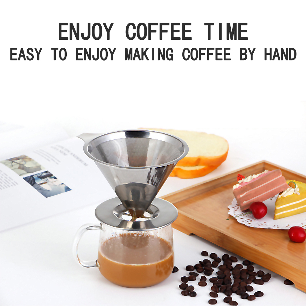 S.S.304 Coffee Filter Pour Over Funnel Brew Drip Tea Filter Reusable Kitchen Coffeeware Heat Insulation Silicone Handle