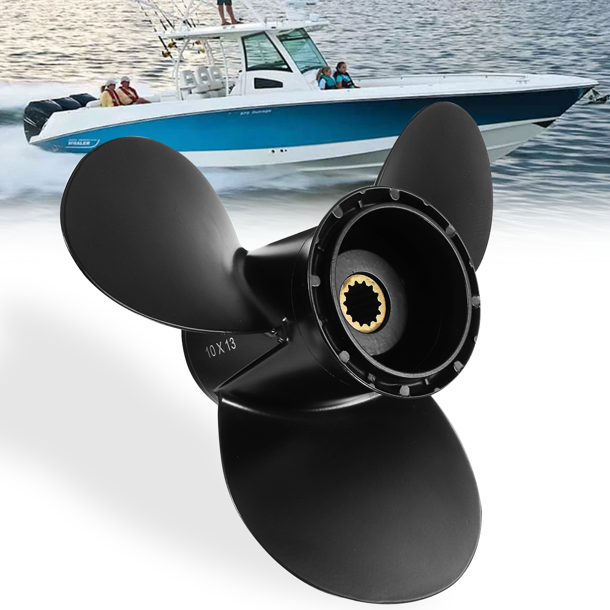 778863 10 X 13 Marine Outboard Propeller For Evinrude Johnson 15-35HP Aluminum Alloy Black 3 Blades R Rotation 14 Spline Tooth