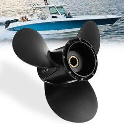 778863 10x13 hélice marina fuera de borda para Evinrude Johnson 15-35HP aleación de aluminio negro 3 cuchillas R rotación 14 dientes Spline
